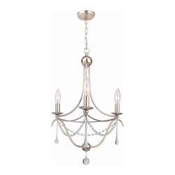 Crystorama - Crystorama Lighting Group 423 Sa 3 Light Mini Chandelier - We have updated our METRO II design by featuring cleaner lines by using a string of glass beads and elongated oyster drops. The sleep antique silver metal adds a richness and elegance in any room of your home. As a family owned company their concern for excellence is expressed in their styling, detailing and sincere caring for their valued customer. Crystorama was initially founded as a primary importer of crystal chandeliers and offers the finest selection of classical crystal designs.