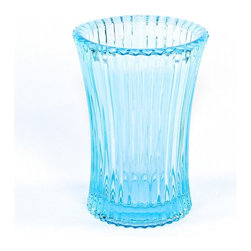 Gedy - Free Standing Tumbler in Sky Blue Glass - A designer tumbler/toothbrush holder for your designer-quality bath. Made in glass with a sky blue finish, this high quality toothbrush holder is made in Italy by Gedy and is part of the Gedy Plisse collection. Consider this round free standing tumbler/to