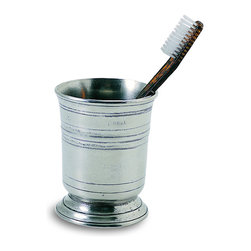 "Match - Match Toothbrush Cup - Store your toothbrush in this beautiful pewter tumbler from Match. Match pewter is handmade in Italy and is made of the finest pewter available. Makes a great wedding or housewarming gift. Measures 4.7"" H."