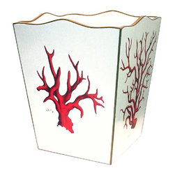 Red Coral Decoupage Wastebasket - Add a touch of color and sea-life to your powder room without being too cutesy, with this beautiful wastebasket red coral decoupage.