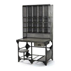 Steel Cabinet with desk and stool - This fantastic Cabinet with desk and stool is made from steel and has vintage industrial finish. Provides storage of important files and documents. Also ideal for storing photos, yearly projects or just fun stuff.