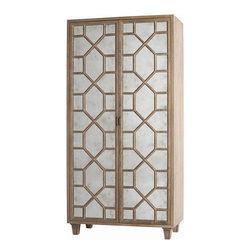 Arteriors Home - Arteriors Home Remington Antique Mirror High Cabinet - Arteriors Home 5235 - Arteriors Home 5235 - This stylish, high cabinet from Arteriors Home's Remington collection features antique mirror details in a geometric pattern on the doors. Distressed oak finish gives this piece a subtle, elegant feel. Two interior wood shelves (one fixed & one adjustable), two adjustable glass shelves, a recessed light, and a cord management hole make this the perfect piece for media. Great cabinet to complement contemporary or transitional decor.