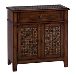 Jofran - Jofran 698-13 Accent Cabinet with 2 Doors and 1 Drawer - Warm up the ambiance of your interior space with this accent cabinet. A multipurpose piece, this cabinet features a beautiful tile inlay that pulls together smooth mosaic tiles with elegant agate-stone-like tones. The true beauty of this end table's style is its ability to blend with a number of room designs. The baroque brown finish and slight shimmer of the tiles are as fitting for a casual display that hints at elegance as they are for a rustic country home. The single drawer and French doors provide storage and the scale and of the piece makes it usable in nearly any room, from living rooms, to foyers and even bedrooms.