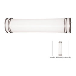 "Minka Lavery - Minka Lavery 664-PL Silver Bathroom Fluorescent 2 Light Energy Star - Minka Lavery 664-PL Large Half Round Bath Bar from the Bathroom Fluorescent Collection  Dimensions: Width is 25.5"", Height is 5.75"", Extension is 4.25"" Energy Star Rated Fixture can be mounted vertically or horizontally 2 Fluorescent 17w G13 24T8 with 120V NPF Electronic Ballast (Bulbs Not Included)  Featuring: White Acrylic Shade"