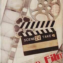 Paragon Decor - Feature Film Artwork - Let's go to the movies!  Film making elements are highlighted with a vintage feel.  Canvas features hand painted black sides.
