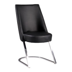 Chintaly Imports - Black/Chrome Side Chair (Set of 2) - Slight Concave Back. Comfortable Seat. CA Fire Retardant Foam. Fully Assembled.