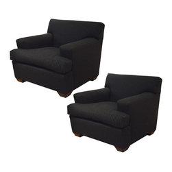 Pair of Custom Made Club Chairs w/Ralph Lauren Charcoal Grey Pinstripe Fabric - Dimensions: L 36''  × W 39''  × H 31''