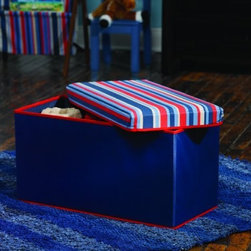 """Home Products - Small Knock Down Storage - HOMZ Small Knock Down Storage Bench with Stripe Lid and navy base; Bench supports up to 200 pounds; Dual-purpose bench for storage and seating; Knock-down design for merchandising and shipping efficiencies; 24"""" x 12"""" x 12-1/2"""""""