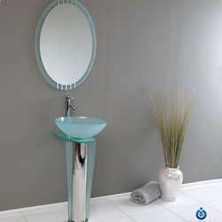 "Fresca - Fresca Vitale 16"" Modern Glass Bathroom Vanity - This lovely bathroom vanity has a simple and elegant design. This small-sized bathroom vanity is 16.5"" wide and 34.38"" high. Items included: Vanity, Mirror, Glass Sink, Faucet, P-Trap and Pop-Up Drain, Standard hardware needed for installation.DecorPlanet is proud to offer Fresca Bathroom products. Fresca is a leading manufacturer of high-quality vanities, accessories, toilets, faucets, and everything else to give you the freshest bathroom in the neighborhood. Fresca is known for carrying the latest and most popular styles in modern and contemporary bathroom design that are made with high quality materials and superior workmanship"