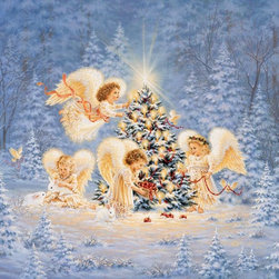 Murals Your Way - Silent Night, Gentle Light Wall Art - Beautiful little angels decorate a tree in the forest in this Christmas-themed wall mural