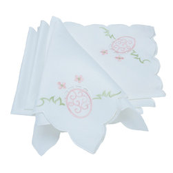 Xia Home Fashions - Easter Egg 18 Inch By 18 Inch Napkins, Set Of 4 - Colorful embroidered Easter eggs adorn this linens collection! These linens add a cheerful touch to you Easter family gatherings.