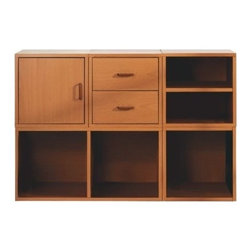 Foremost - 5-IN-1 Modular Storage System Honey - Customize the storage area in any room with this five-in-one modular storage system. With open storage, drawers and a cabinet, this piece offers a place for all of your items. The rich honey color fits easily in most rooms. Unlimited combination options so you can create exactly the system you need.