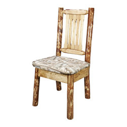 Montana Woodworks - Upholstered Side Chair - Contoured style. Upholstered seat in wildlife pattern. Slat style back increases comfort. Hand crafted. Heirloom quality. Solid lodge pole pine accents. Made from American grown wood. Stained and lacquered finish. Made in USA. No assembly required. Seat height: 18 in.. Overall: 19 in. W x 18 in. D x 38 in. H (20 lbs.). Warranty. Use and Care InstructionsThis wonderful dining/side chair is as comfortable as it is unique. Handcrafted using small diameter lodge pole logs harvested in Montana this log dining chair is designed to last for generations. This chair incorporates the tried and true mortise and tenon joinery system that has served as a symbol of durability for millennia. Finished in the glacier country collection style for a truly unique, one-of-a-kind look reminiscent of the grand lodges of the Rockies, circa 1900. First we remove the outer bark while leaving the inner, cambium layer intact for texture and contrast. Then the finish is completed in an eight step, professional spraying process that applies stain and lacquer for a beautiful, long lasting finish.