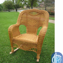 International Caravan - International Caravan Resin Wicker Indoor/Outdoor Rocker - This resin wicker rocking chair features a durable hand-woven design that comfortably fits most adults. Enjoy the outdoors relaxing on your porch, patio, or balcony with this sturdy aluminum frame rocker.