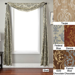 None - Roman Crinkle 6-yard Scarf Valance - Add some drama to your home decor with a long scarf valanceWindow treatment has a medallion crinkle Scarf valance is available in a variety of color patterns