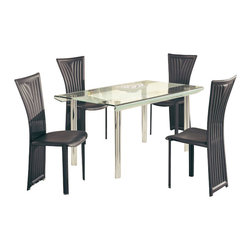 Global Furniture USA - DA818L-DT + D1513DC-BL Glass & Black Leatherette Five Piece Dining Set - The DA818L-DT + D1513DC dining set works well with any dining room decor that needs a touch of modern design. This table features a rectangular clear glass top with a frosted strip accent down the middle. A unique curved design of the glass top along the edges adds to the contemporary look. The table has a traditional four leg metal design that comes in a chrome finish. This modern dining chair comes upholstered in a black leatherette. The silver Finish legs and trim compliment the cut out designs of the chair back The dining set includes the dining table and four chairs only.