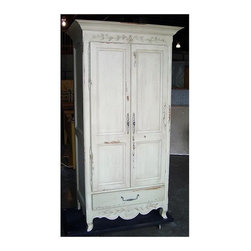 British Traditions - French Provincial Entertainment Armoire w 2 Doors (Antique Blue) - Finish: Antique Blue. Each finish is hand painted and actual finish color may differ from those show for this product. French carved entertainment center. Large cabinet. 1 Drawer. 2 Adjustable shelves. Minimal assembly required. 36 in. W x 24 in. D x 81.5 in. H (218 lbs.). Interior:35 in. W x 22 in. D x 61 in. H. Interior Base is 17.5 in. off the groundThe Honfleur Entertainment Center is slender enough for most small spaces. It will come with two adjustable shelves.
