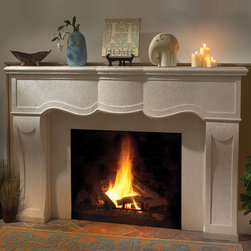 Surrey Stone Fireplace Mantel - A decorative curved stone hearth, the Surrey is a beautiful centerpiece for your living space. A classically beautiful fireplace mantel, we offer a number of stone finishes and size options including custom pieces.