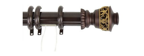 """Rod Desyne - Decorative Traverse Rod with Rings Lattice Finial 66""""- 120"""" - Mahogany - This decorative center-open heavy duty traverse rod is designed for use with pinch pleat draperies or Rod Desyne Clip Hooks. High quality smooth traverse operation, superior slide fit between inner and outer rod.; One mahogany adjustable center open traverse rod w/ decorative rings, center open 66-120 inch, cord right, rod diameter: 1-1/2 inch; Two Lattice finials, each measures: L 4"""" x H 2.75"""" x D 2.75""""; Quantity of decorative rings on rod: 30 rings; Clearence: about 2-1/2 inch, mounting brackets and hardware included; Material: Steel rod and brackets / poly resin finial; Weight: 6.38 lbs; Dimensions: 1.5""""H x 66""""W x 3.25""""D"""
