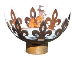 John T. Unger - The Fiery Fleur-de-Lis Sculptural Firebowl - The Fiery Fleur-de-Lis Sculptural Firebowl is a tour de force in fire and steel that adds a regal flair to any setting. Whether you are hosting an intimate gathering of your inner circle, plotting an award winning landscape design or seeking an intriguing focal point for a trendy new French Bistro, bring a touch of royal elegance to your outdoor setting with the Fiery Fleur-de-Lis. Leaping from the coals you can clearly see the fiery steed of a chevalier manifesting the ancient symbolism of faith, wisdom and chivalry associated with this design.