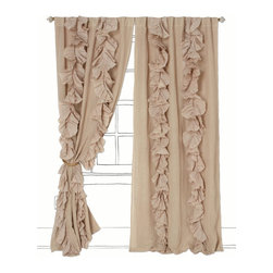 Wandering Pleats Curtain, Neutral - The beautiful ruffles on and calming color of these curtains help to soften the hard lines of bedroom windows.
