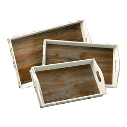 Alder Nesting Trays - Contrasting distressed neutrals in the Alder Nesting Trays give definition to your displays. Elegant for coordinating dining room and home bar spaces when you divide the set over a wine stand and a sideboard, this trio also stacks for a chic layered look that can divide into multiple project surfaces or serving trays at a moment's notice. Cutout handles enhance the interest and utility.