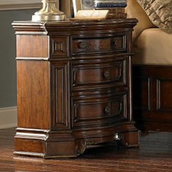 Homelegance - Homelegance Montvail 3 Drawer Nightstand in Cherry - A traditional bedroom suite requires a grandiose statement of elegance. The Montvail Collection takes the most elegant elements in traditional design and effortlessly blends them to create the bedroom of your dreams. Hand crafted filigree pattern adorns the mansion headboard and carries over to the top drawer of each magnificent case piece. Further accenting the case pieces are the uniquely clipped corners, raised drawer fronts and accenting traditional hardware. Cherry and burl veneers are finished in a rich warm cherry and feature a delicate gold tipping that highlight this elegant suite. - 2105-4.  Product features: Montvail Collection; Cherry Finish; Traditional design; Uniquely clipped corners; Raised drawer fronts; Accenting traditional hardware; Cherry and burl veneers; 3 Draewrs. Product includes: Nightstand (1). 3 Drawer Nightstand in Cherry belongs to Montvail Collection by Homelegance.