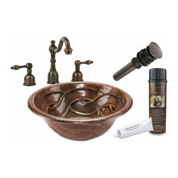 Premier Copper Products - Round Braided Drop-in Copper Sink Package - BSP2_LR17RBDDB Premier Copper Products Round Braided Self Rimming Hammered Copper Sink with ORB Widespread Faucet, Matching Drain and Accessories