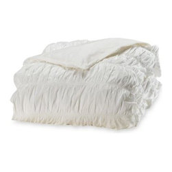 Dkny - DKNY Willow White Duvet Cover - A fashionable ruched pleat design gives this duvet cover by DKNY a luxurious yet delicate look that makes a beautiful addition to any decor. It will add a graceful touch to your bedroom.