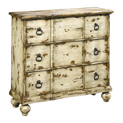 None - Hand-painted Distressed Antique Ivory Chest - This hand painted distressed antique ivory finish accent chest features three functional drawers for storage. The chest offers elegant antique brass finished hardware.