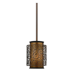 Quoizel Mica Mini Pendant - This artistic piece is an addition to the Quoizel Naturals collection. The drum shade is made of genuine amber mica, and features an overlay of thin metal swirls, which appears to be floating around the shade. It provides a warm and inviting accent for most any home.