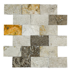 STONE TILE US - Stonetileus 4 pieces (4 Sq.ft) of Mosaic Mix 2x4 Split Face - STONE TILE US - Mosaic Tile - Mix 2x4 Split Face Specifications: Coverage: 1 Sq.ft size: 2x4 - 1 Sq.ft/Sheet Piece per Sheet : 18 pc(s) Tile size: 2x4 Sheet mount:Meshed back Stone tiles have natural variations therefore color may vary between tiles. This tile contains mixture of gold - white - light brown - dark brown - yellow - Black - and color movement expectation of high variation, The beauty of this natural stone Mosaic comes with the convenience of high quality and easy installation advantage. This tile has Split Face surface, and this makes them ideal for walls, kitchen, bathroom, outdoor, Sheets are curved on all four sides, allowing them to fit together to produce a seamless surface area. Recommended use: Indoor - Outdoor - High traffic - Low traffic - Recommended areas: Mix 2x4 Split Face tile ideal for walls, kitchen, bathroom, Free shipping.. Set of 4 pieces, Covers 4 sq.ft.