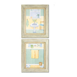 """Uttermost - Beach Bath Framed Art Set of 2 - Distressed, Painted Frames Accent These Quaint Bath Scenes. The Outer Frames Are Pale Green, Pale Blue, Black And Gray While The Inner Frames Have A Pale Green Base With A Heavy Brown Wash.; Collection: Beach Bath; Designer: Grace Feyock; Material: Fir & MDF; Finish: The Outer Frames Are Pale Green, Pale Blue, Black And Gray While The Inner Frames Have A Pale Green Base With A Heavy Brown Wash.; Mirror: 0.078""""D x 12""""W x 16""""H; Dimensions: 1.25""""D x 17.625""""W x 21.625""""H; Uttermost's Coastal Art Combines Premium Quality Materials With Unique High-style Design.; With The Advanced Product Engineering And Packaging Reinforcement, Uttermost Maintains Some Of The Lowest Damage Rates In The Industry. Each Product Is Designed, Manufacturered And Packaged With Shipping In Mind."""
