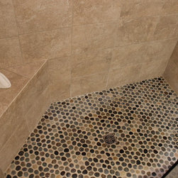 Tiled Masterbath with Makeup Vanity ~ Medina, OH #1 - In this masterbath renovation we removed the shower and tub and redesigned this bathroom with a tile shower and makeup vanity area.  The cabinets are Medallion Cherry cabinets with natural finish in the Potter's Mill door style.  The countertop is Uba Tuba 2cm Granite with 2 rectangular biscuit sinks accented with Moen Brantford Collection Chrome 2 handle faucets and new vanity lights.  The shower tile is American Olean Avante Ceramic porcelain shower wall tile, on the floor of the shower is Island Stone Absolute Pebbles.  And on the bathroom floor is Avante porcelain floor tile.