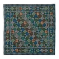 Patch Quilts - Chambray Nine Patch Quilt  Luxury King 120 x 106 Inch - Intricate patchwork and beautiful hand quilting  - Bedding ensemble from Patch Magic Patch Quilts - QLKCH9P