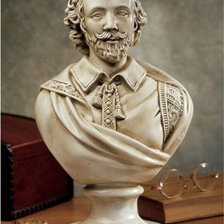 Design Toscano - Design Toscano 12 in. William Shakespeare Sculptural Bust - AH22672 - Shop for Sculptures Statues and Figurines from Hayneedle.com! The Bard deserves his own pedestal. The Design Toscano 12 in. William Shakespeare Sculptural Bust is faithfully sculpted cast in quality designer resin to capture each detail and then highlighted with an antique stone finish.About Design ToscanoDesign Toscano is the country's premier source for statues and other historical and antique replicas which are available through the company's catalog and website. Design Toscano's founders Michael and Marilyn Stopka created Design Toscano in 1990. While on a trip to Paris the Stopkas first saw the marvelous carvings of gargoyles and water spouts at the Notre Dame Cathedral. Inspired by the beauty and mystery of these pieces they decided to introduce the world of medieval gargoyles to America in 1993. On a later trip to Albi France the Stopkas had the pleasure of being exposed to the world of Jacquard tapestries that they added quickly to the growing catalog. Since then the company's product line has grown to include Egyptian Medieval and other period pieces that are now among the current favorites of Design Toscano customers along with an extensive collection of garden fountains statuary authentic canvas replicas of oil painting masterpieces and other antique art reproductions. At Design Toscano attention to detail is important. Travel directly to the source for all historical replicas ensures brilliant design.