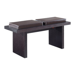 Global Furniture - Global Furniture USA Lony 22 Inch Leatherette Bench in Wenge - This modern dining chair provides comfortable and stylish seating. It is finished in oak veneers and a leatherette cushion.