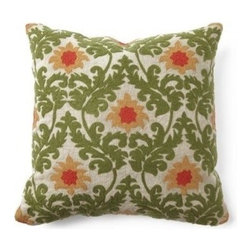Villa Home - Tuscan Verdure Pillow - Engulf yourself in the serene gardens and earthly tones of our Tuscany Verdure Pillow.  Handcrafted from all natural materials, this throw features scrolling leaflet embroidered brocade print and a plush feather down insert.