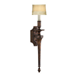 Fine Art Lamps - Fontana Bella Sconce, 434350ST - Light your world à la the18th century with this wall sconce. Its variegated bronze finish has stately bearing, and the hand-sewn taupe silk shade will radiate a warm candlelit glow.