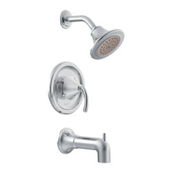 "Moen - Moen T2143 Chrome Posi-Temp Tub/Shower Valve Trim, 1-Handle 1-Function Cartridge - Moen T2143 is part of the ICON bath collection. Moen T2143 is a new bathroom decor style by Moen. Moen T2143 has a Chrome finish. Moen T2143 Posi-Temp Tub and Shower valve only trim fits any MPact common valve system or MPact Posi-Temp 1/2"" valve available separately. Moen T2143 is part of the Icon bath collection, taking ordinary to the extraordinary combining contemporary decor with modern style. Moen T2143 Tub and Shower valve trim includes single-function pressure balancing Cartridge. Back to back capability. Moen T2143 is a single handle Tub and Shower valve trim only, the handle adjusts temperature. Moen T2143 valve only single handle trim provides for ease of operation. Moen T2143 Posi-Temp pressure balancing valve maintains water pressure and controls temperature. Moen T2143 includes Moenfl"" xLT single function Showerhead 2.5 GPM max., and a 7 1/4"" diverter tub spout. Moen T2143 is ADA approved. Chrome is a proven finish from Moen and provides style and durability. Moen T2143 metal lever handle meets all requirements ofADA ICC/ANSI A117.1 and CSA to meet CSA B-125, ASME A112.18.1 M. Lifetime Limited Warranty."
