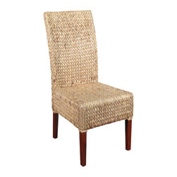 Solid Mahogany Woven Wicker Occasional Parson Side Chair - This product is finely constructed from top grade kiln-dried Solid Mahogany. Artisans use the old world method of tongue and groove and mortise and tenon joinery to create this beautiful and durable piece of furniture. Its superb hand-crafted quality will add a touch of elegance to your home.
