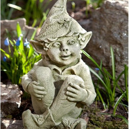 Campania International - Campania International Aiden The Elf Cast Stone Garden Statue - S-390-AL - Shop for Statues and Sculptures from Hayneedle.com! About Campania InternationalEstablished in 1984 Campania International's reputation has been built on quality original products and service. Originally selling terra cotta planters Campania soon began to research and develop the design and manufacture of cast stone garden planters and ornaments. Campania is also an importer and wholesaler of garden products including polyethylene terra cotta glazed pottery cast iron and fiberglass planters as well as classic garden structures fountains and cast resin statuary.Campania Cast Stone: The ProcessThe creation of Campania's cast stone pieces begins and ends by hand. From the creation of an original design making of a mold pouring the cast stone application of the patina to the final packing of an order the process is both technical and artistic. As many as 30 pairs of hands are involved in the creation of each Campania piece in a labor intensive 15 step process.The process begins either with the creation of an original copyrighted design by Campania's artisans or an antique original. Antique originals will often require some restoration work which is also done in-house by expert craftsmen. Campania's mold making department will then begin a multi-step process to create a production mold which will properly replicate the detail and texture of the original piece. Depending on its size and complexity a mold can take as long as three months to complete. Campania creates in excess of 700 molds per year.After a mold is completed it is moved to the production area where a team individually hand pours the liquid cast stone mixture into the mold and employs special techniques to remove air bubbles. Campania carefully monitors the PSI of every piece. PSI (pounds per square inch) measures the strength of every piece to ensure durability. The PSI of Campania pieces is currently engineered at approximately 7500 for optimum strength. Each piece is air-dried and then de-molded by hand. After an internal quality check pieces are sent to a finishing department where seams are ground and any air holes caused by the pouring process are filled and smoothed. Pieces are then placed on a pallet for stocking in the warehouse.All Campania pieces are produced and stocked in natural cast stone. When a customer's order is placed pieces are pulled and unless a piece is requested in natural cast stone it is finished in a unique patinas. All patinas are applied by hand in a multi-step process; some patinas require three separate color applications. A finisher's skill in applying the patina and wiping away any excess to highlight detail requires not only technical skill but also true artistic sensibility. Every Campania piece becomes a unique and original work of garden art as a result.After the patina is dry the piece is then quality inspected. All pieces of a customer's order are batched and checked for completeness. A two-person packing team will then pack the order by hand into gaylord boxes on pallets. The packing material used is excelsior a natural wood product that has no chemical additives and may be recycled as display material repacking customer orders mulch or even bedding for animals. This exhaustive process ensures that Campania will remain a popular and beloved choice when it comes to garden decor.Please note this product does not ship to Pennsylvania.