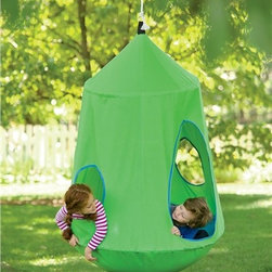 HugglePod HangOut Indoor/Outdoor Hanging Chair - The little girl in me wants to hide inside this hanging tent swing all summer long. Isn't it amazing? It's also perfect for yards where tree houses are just not an option.
