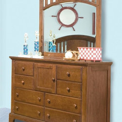 American Woodcrafters - Bradford Double Dresser w Mirror - Made from mahogany solids and cherry veneers. Rich cherry finish. No assembly requiredMirror:. Arched crown with slats and pegs on pilasters. Beveled glass. 2.19 in. thickness. 43.13 in. W x 40.5 in. H (43.2 lbs.)Dresser:. Eight drawers. One door with an adjustable shelf. Wooden knobs. Solid wood drawer sides and backs. English dovetailing on drawer fronts and backs. Center guided metal drawer glides with plastic drawer stops. Dust proofing on bottom drawers for added protection. Top drawers are felt lined. Finished drawer interiors. Tip resistant furniture safety bracket. Tenon and mortis construction. 14.5 in. deep drawers. 54 in. W x 18 in. D x 38 in. H (151 lbs.)Fine workmanship is evident in the Bradford line of furniture from American Woodcrafters.