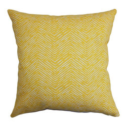 The Pillow Collection - Edythe Zigzag Pillow Corn Yellow - Bright and cozy, this decor pillow allows you to reinvent your home without spending too much. This accent pillow comes with a good value, and it's made from high-quality 100% cotton material. You can use this throw pillow to decorate your living room, bedroom or family room. With a splash of corn yellow hue and a ribbed texture, this square pillow will instantly update your living space. Hidden zipper closure for easy cover removal.  Knife edge finish on all four sides.  Reversible pillow with the same fabric on the back side.  Spot cleaning suggested.