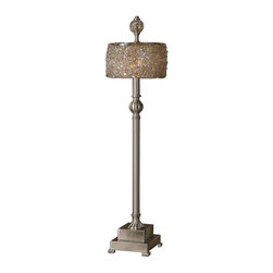 Uttermost - Uttermost Terumi Table Lamp w/ Stained Sugar Spun Glass Drum Shade - Table Lamp w/ Stained Sugar Spun Glass Drum Shade belongs to Terumi Collection by Uttermost Satin nickel metal with a stained sugar spun glass drum shade and matching finial. Table Lamp (1)