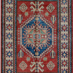 """ALRUG - Handmade Red/Rust Oriental Kazak Rug 2' 10"""" x 4' 2"""" (ft) - This Afghan Kazak design rug is hand-knotted with Wool on Cotton."""