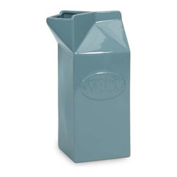 Harrison Tall Ceramic Milk Carton - You've seen ceramic milk cartons, but with added color, this tall ceramic item is a great whimsical accents to any kitchen.