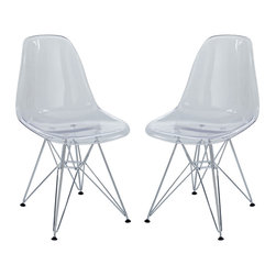 Modway - Paris Dining Side Chair Set of 2 in Clear - These molded plastic chairs are both flexible and comfortable, with an exciting variety of base options. Suitable for indoors or out, appropriate for the living and dinning room, these versatile chairs are a great addition to any home d��_cor statement.
