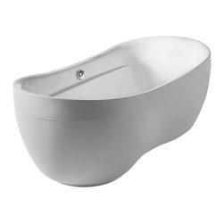 "Whitehaus - Freestanding Soaker Tub - Whitehaus WHYB170BATH 70"" Bathhaus Oval Curved Rim Style Freestanding Acrylic Tub White"